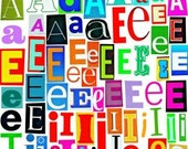 MultiColor Vowels Letters A-E-I-O-U Printable Digital Magazine Letters, Upcycled, Collage Letters, Ransom Note