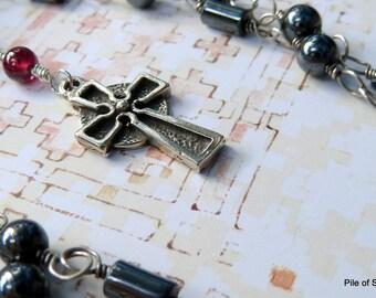 Necklace, Night Song, Garnet, Hematite, Oxidized Sterling Silver, St. John's Cross, Rosary Style, Soulful, Faith Hope Love Joy, Inspiration