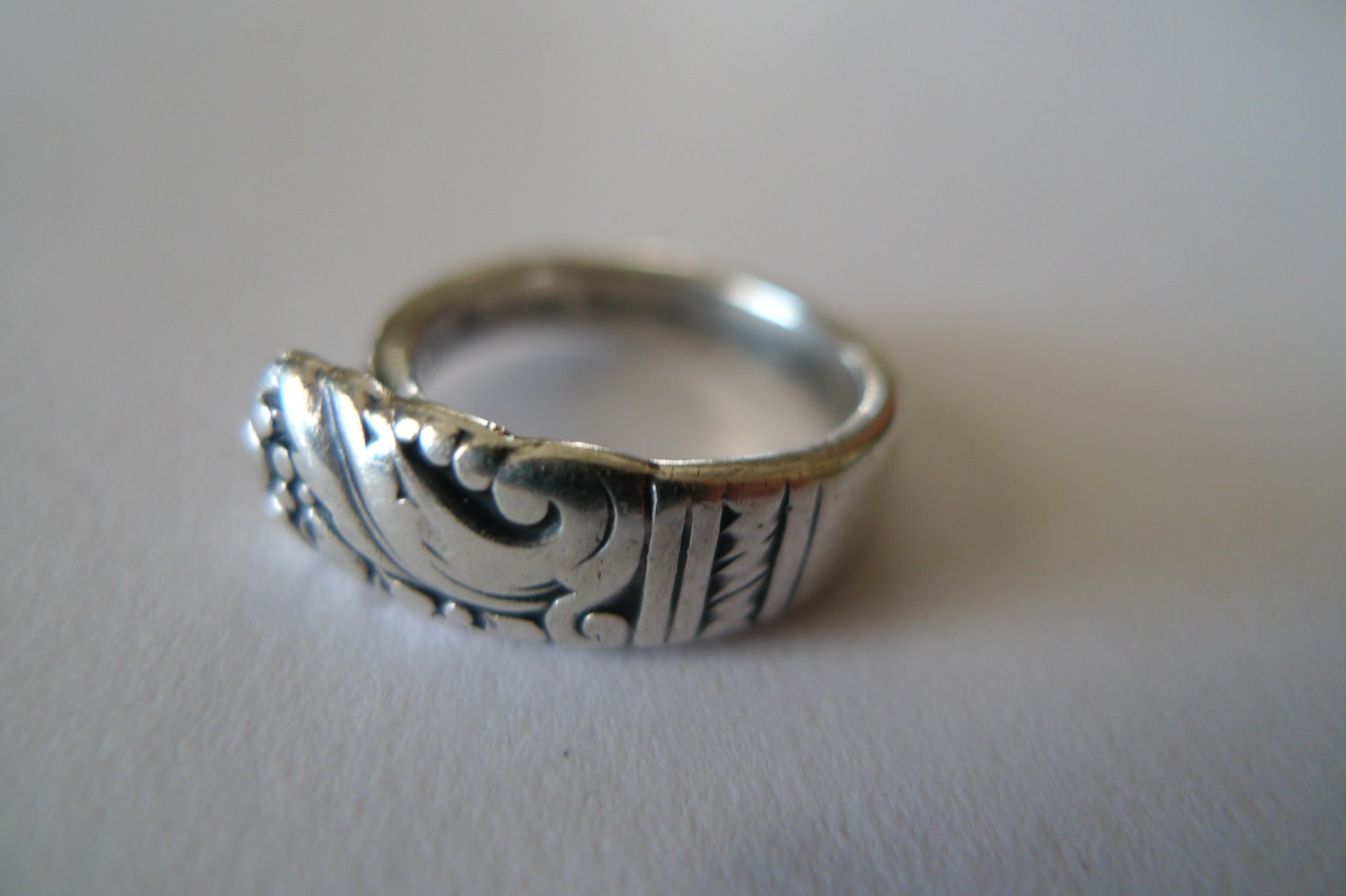 sterling silver spoon ring antique heirloom folk jewelry