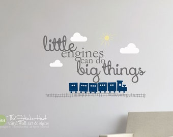 Little Engines Can Do Big Things - Clouds - Sun - Train Theme - Typography Word Art - Vinyl - Quote - Wall Decals - Stickers Decals 1783