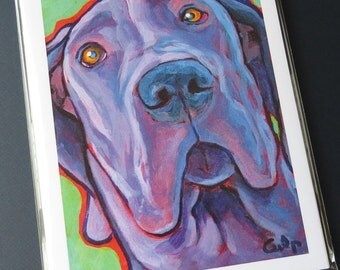Blue GREAT DANE Dog 8x10 Signed Art Print from Painting by Lynn Culp