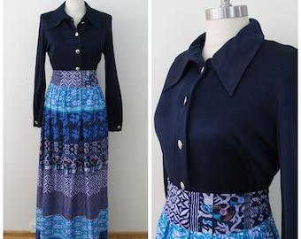 70s Brief Originals Navy Long Sleeve Hostess Maxi Dress, Size Medium