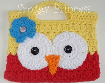 Owl Purse Treat Bag Hand Crocheted Toddler Tote READY TO SHIP