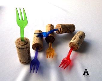 Wine Cork Plastic Party Forks