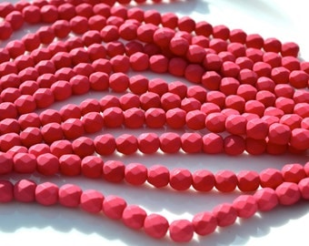 Saturated Fuschia Red 6mm Fire Polish Round Czech Glass Beads  25