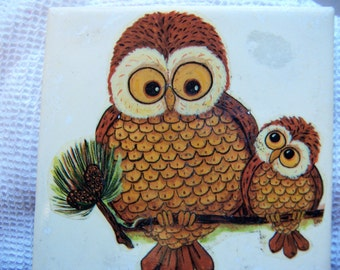 little ceramic tile with owls