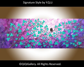 """Abstract Acryic painting wall art wall decor Heavy Texture Impasto Palette Knife Tree Flower Love Birds """"Romantic Evening"""" by QIQIGALLERY"""