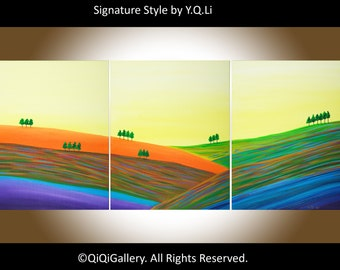 "Original oil landscape painting wall decor wall art home Office canvas art wall hangings ""Autumn Hills"" by qiqigallery"