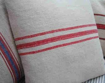 Vintage GRAINSACK Pillow, Paris Red, Paris Cottage, Shabby Chic, Red Stripe, Ticking, Urban, Industrial, Throw Pillow, Bedroom