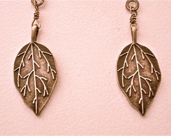 Bronze Ornate Leaves and Antiqued Brass Fan or Light Pull Pair