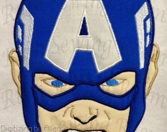 Captain America Face Applique, Avenger Applique Embroidery Design