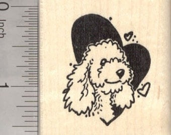 Poodle Valentine Rubber Stamp, Dog in Heart E26617 Wood Mounted