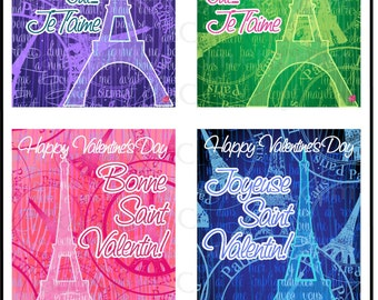 Paris Eiffel Tower French Love Letter set 2 - Valentines Day Cards for kids classroom exchange - DiY Printing Jpg & Pdf[Instant Download]