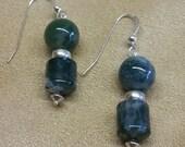 Earrings, Dangle, Agate, Moss Agate