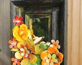 Funky Flower Mirror Assemblage Vintage Metal Jewelry Enamel Wall Hanging Upcycled