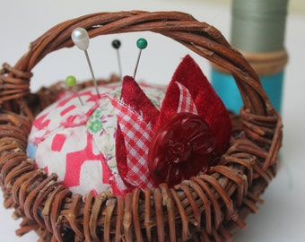 Vintage Quilt Pin Cushion Upcycled with Red Flower button Wicker Basket