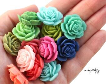 10pc garden rose matte resin flower cabochons / resin rose flower embellishments / flat back cabs / dreamy pastels, brights, pops of color!
