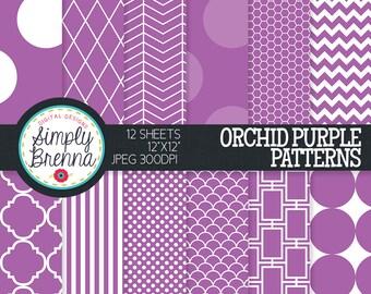 Purple Digital Paper, Colorful Digital Paper, Colorful Patterned Paper, Digital Paper, Purple, Personal & Commercial Use INSTANT DOWNLOAD
