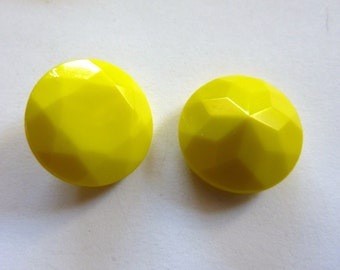Vintage Primrose Yellow 18mm Faceted Round Czech Glass Jewel (2)