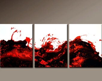 3pc Abstract Art Painting on Canvas 48x20 Original Contemporary art Paintings by Destiny Womack - dWo - SALE