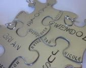 Family Friends Set of 4 Puzzle pieces Charms Only set of four puzzle pieces with full name and names of full family of four best friends