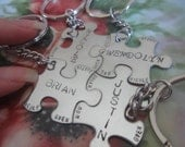 Family Key Chains Friends Set of 4 Puzzle pieces  set of four puzzle pieces with full name and names of full family of four best friends