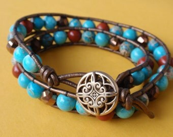 Boho Blue and Red Jasper Wrap Bracelet