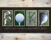 GOLF Personalized Name Print, Golf Letter Photos, Guy Retirement or Birthday Gift, Motivational Quote, Gift for Dad, Golf Themed Artwork