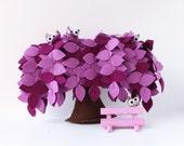 Purple Weeping willow,   Felt Tree,  Home decor, Soft sculpture