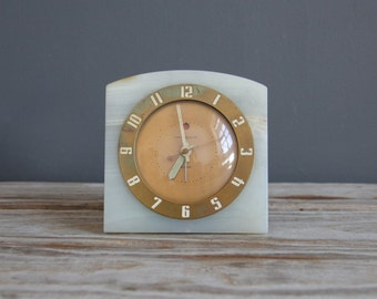 Green Stone Onyx Art Deco Clock