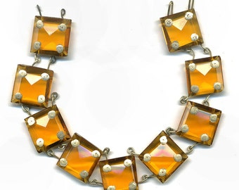 """Vintage Chandelier Chain Square 16mm Beads Faceted Amber Glass Wired Together 8"""" Long Circa 1920s"""