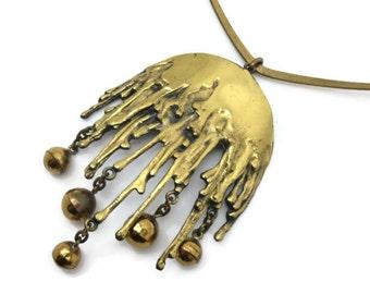 Vintage Modernist Necklace - Sarpaneva  Scandinavian 1960s Bronze