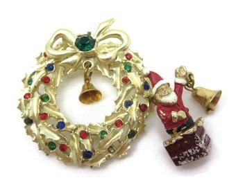 Christmas Brooches - Santa and Wreath Bells Enamel Rhinestone