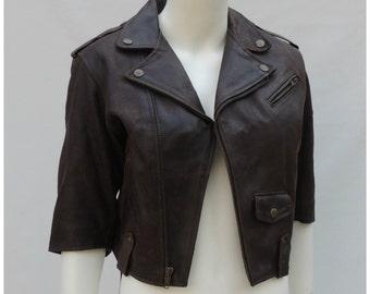 Vintage Motorcycle Jacket  //  Vtg 90 DKNY 1993 Cropped Distressed Brown Leather Shrunken Fit Moto Jacket