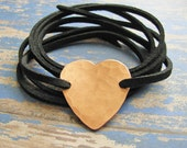 hammered copper heart wrap bracelet