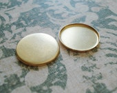 16mm Brass Closed Back 1mm Low Wall Round Bezel Settings for Flat Back Cabs or Stones (12 pieces)