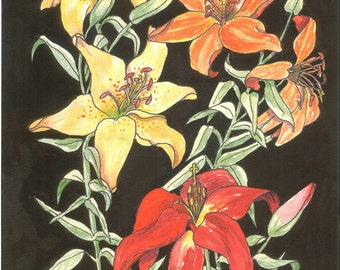 Wall Art Print Plaque, Ready to Hang, Floral Wall Hanging, Orange, Red, Yellow Tiger Lilies on Etsy