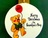 0035 Balloon Bear ball. Message shown is a suggestion. Ornaments can be written with a message/name of your choice. All ornaments are dated