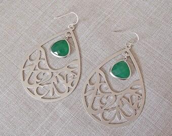 Matte Silver Open Teardrop Earrings with Green Agate Pendants