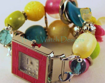 Shabby Chic Carnival.. Bright Turquoise Blue, Lime Green, Hot Pink, and Buttery Yellow Interchangeable Beaded Watch Band