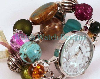 Shabby Chic Winter Berry.. Gorgeous Champagne, Wine, Olive, and Teal Chunky Interchangeable Beaded Watch Band