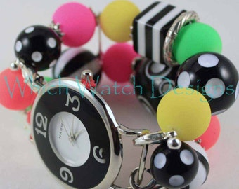 Neon Lights.. Chunky Fluorescent Pink, Yellow, Orange, Green, and Black and White Beaded Interchangeable Watch Band