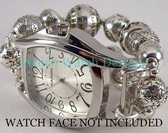 Plain Silver.. Silver Plated Bead, Interchangeable Watch Band, No Rings