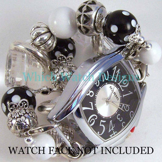 Connie Black.. Black and White Polka-Dot Chunky Interchangeable Beaded Watch Band