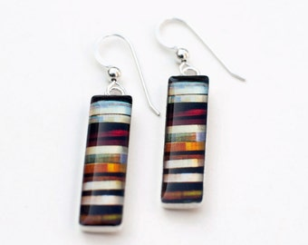 Jazzy Striped Earrings  - Long Rectangular Sterling Silver and Resin Earrings, Eye Catching, Multicolor Jewelry