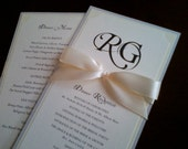 Wedding Reception Program and Menu in Custom Colors, Fonts with Ribbon Knotted/Bow - The Bistro Collection Sample