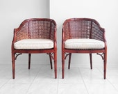 15% SALE 2 henredon HOLLYWOOD REGENCY faux bamboo cane arm chairs