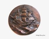 Copper Nautical Ship Wall Hanging / Ornament, Vintage Art
