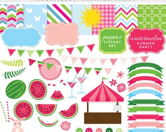 Watermelon clipart - watermelon clip art, summer, fruit, spring, Easter party, shop stand, frames, papers, pink, green, bunting commercial