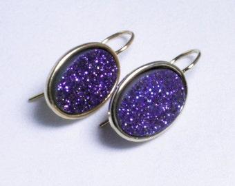 Purple Druzy Earrings Titanium Druzy Earrings Gold Bezel Earrings Druzy Jewelry Purple Drusy Earrings Druzy Jewelry  Drusy FD-E-105-Pur/g